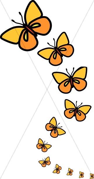Line of butterflies clipart butterfly