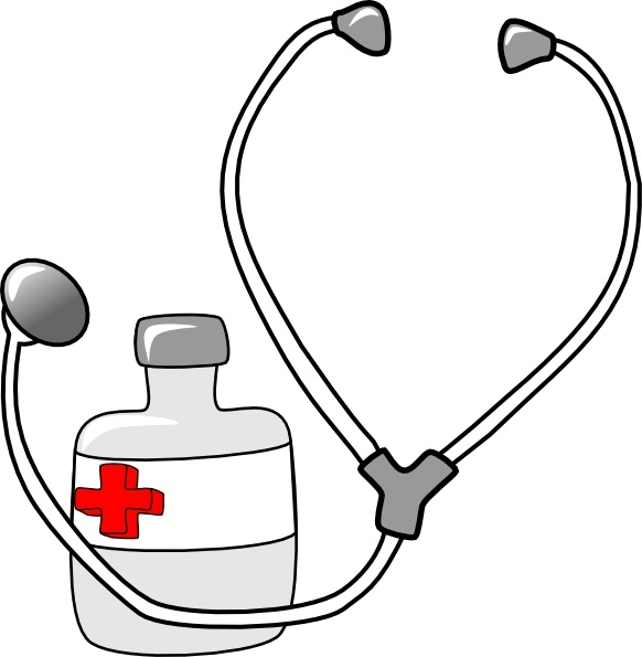 Metalmarious medicine and a stethoscope clip art free vector in