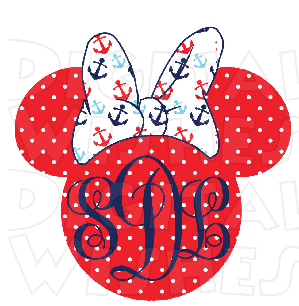 Minnie mouse head monogram nautical disney cruise minnie mouse ears heads clip art