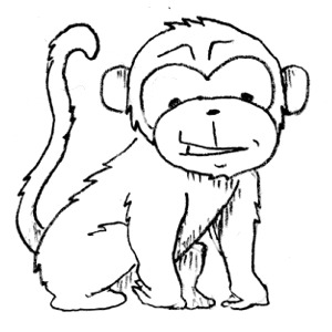 Monkey black and white monkey clip art free