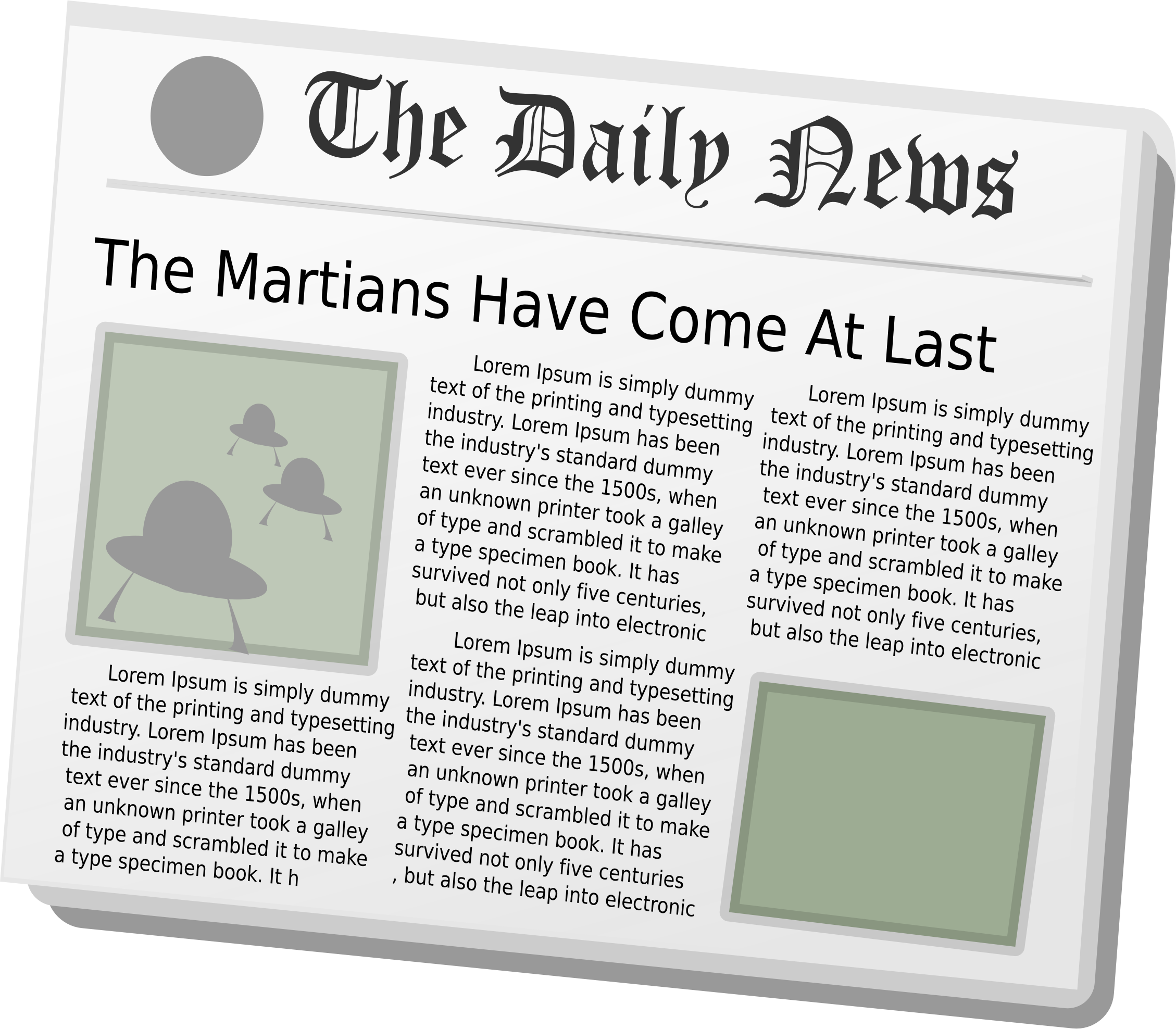 Newspaper clipart daily news aliens