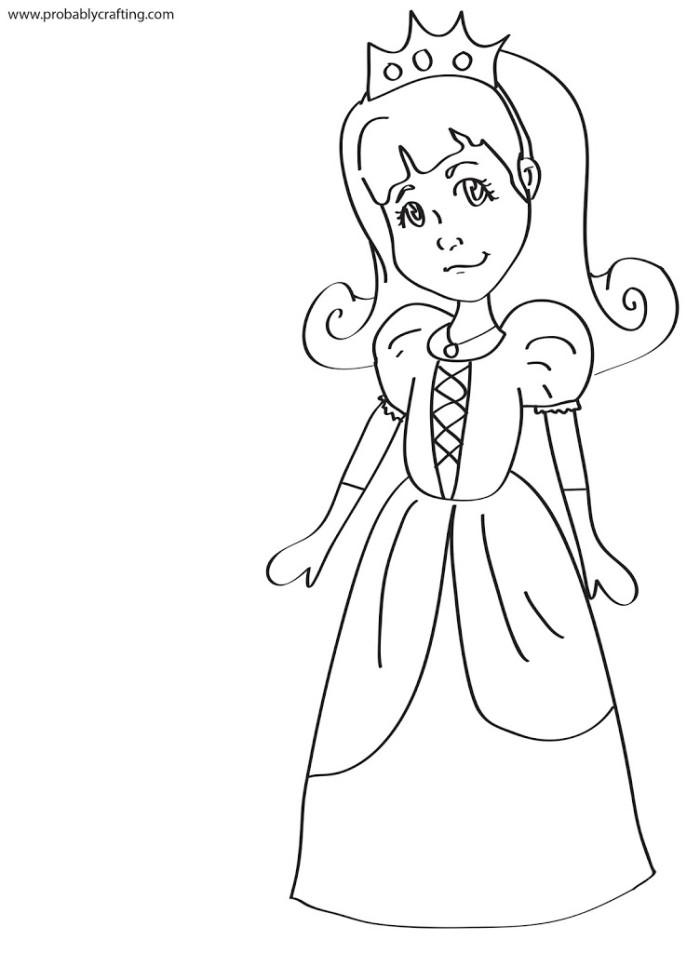 Princess black and white clip art