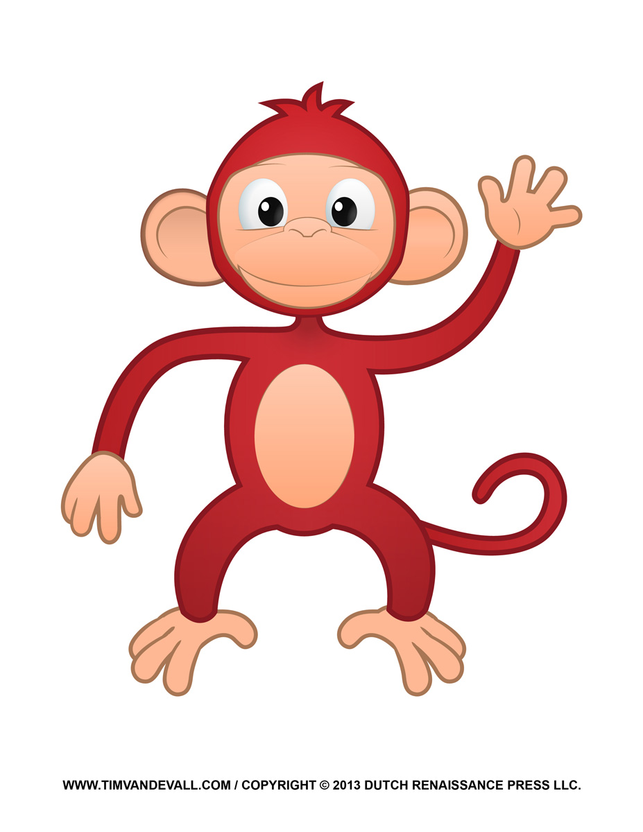 Printable monkey clipart coloring pages cartoon
