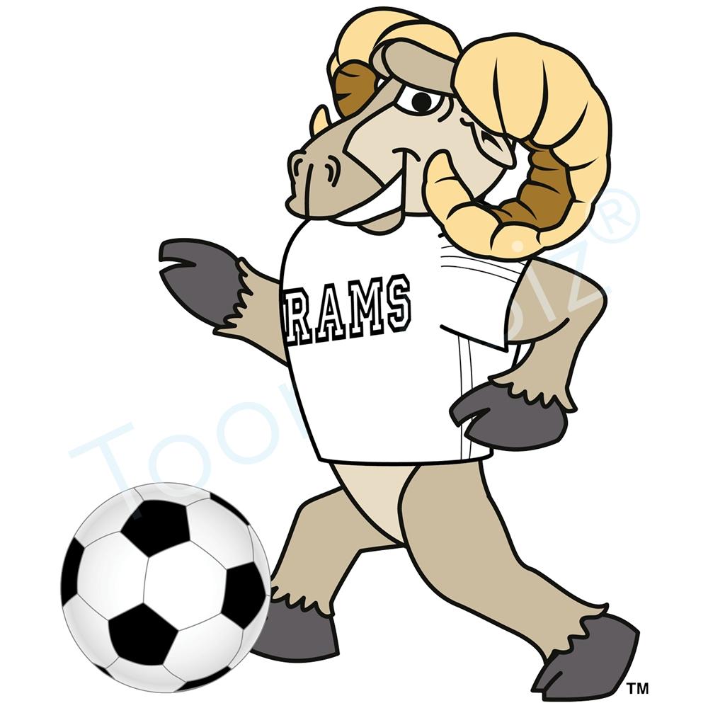 Ram mascot playing soccer clip art graphic