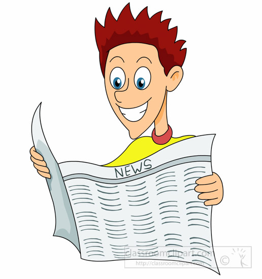 Reading clipart man reading newspaper happily clipart