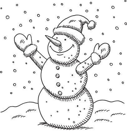 Snowman  black and white hand drawn vector drawing of a happy snowman black and white clipart
