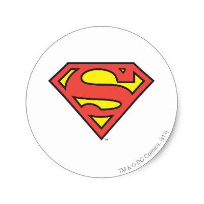 Superman logo superman shield classic logo round sticker