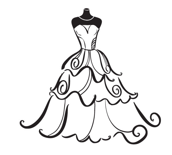 Bridal shower shower clipart black and white