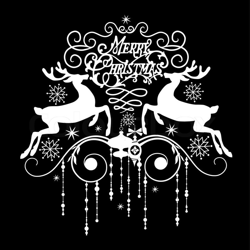 Merry christmas black and white black and white christmas card stock vector colour clip art