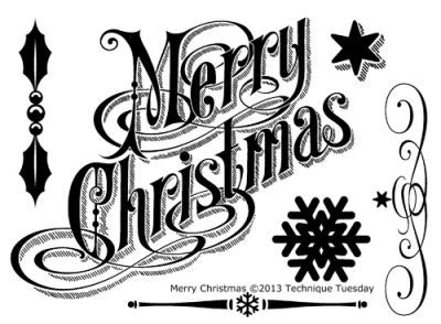 Merry christmas black and white merry christmas clear stamps technique tuesday clipart